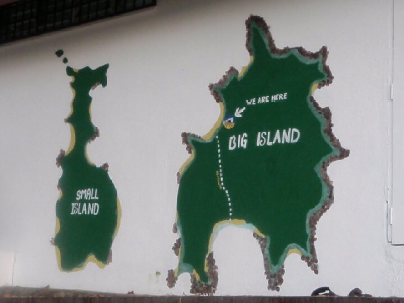 Perhentian Kecil and Perhentian Besar on a simple painted map