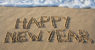 happy new year written in sand on th beach with waves