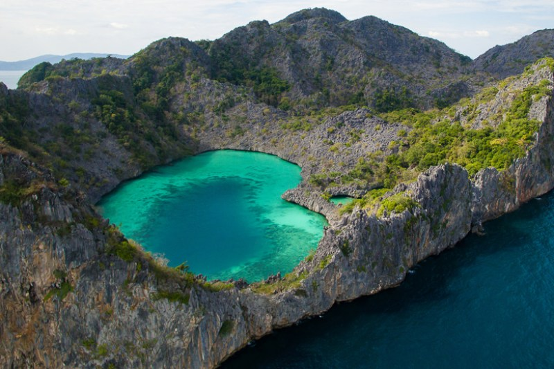 cocks comb island heart shaped emerald lagoon myeik archipelago in myanmar