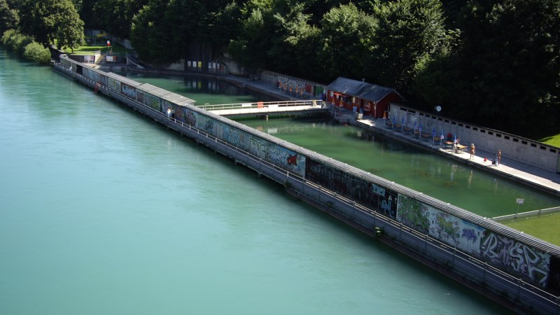 Lorrainebad pools next to Aare River-best rivers in switzerland safe for swimming