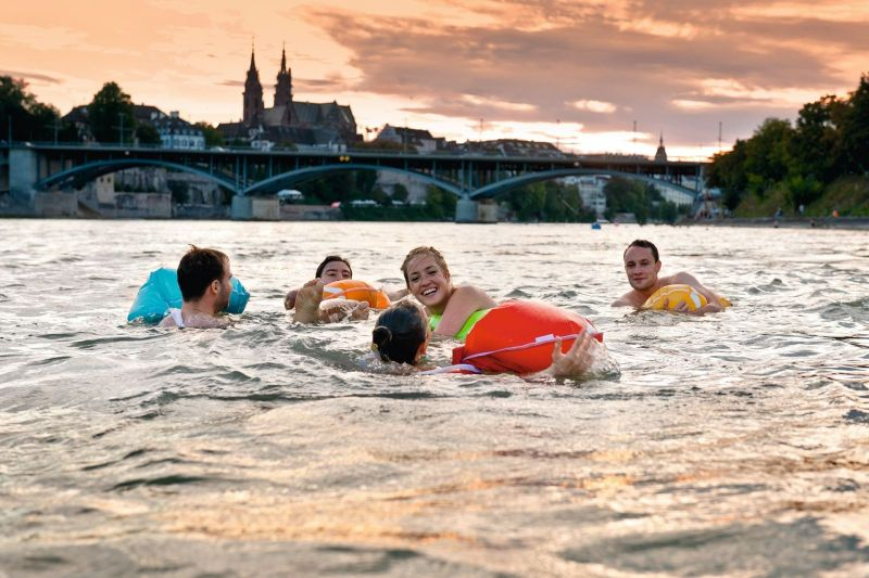 people swimming with Wickelfisch in Rhine River
