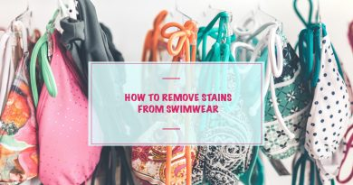 How to remove stains from swimwear - bikinis on a rack