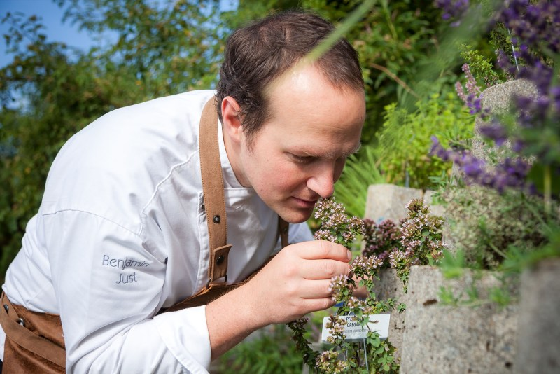 Chef Benjamin Just taking inspiration from fresh herbs in the garden