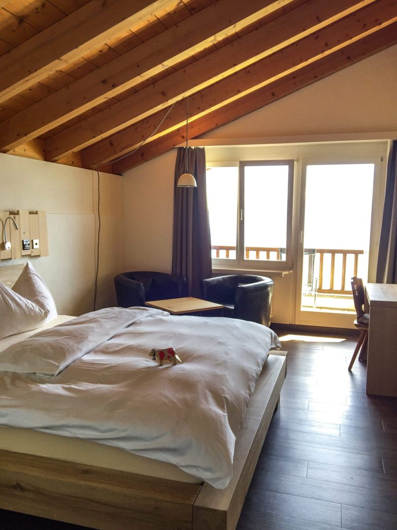 Inside the Double Bedroom with Balcony at Kräuter Hotel Edelweiss