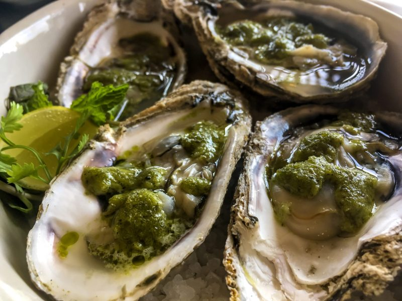 plate of local kerala oysters covered with green herb sauce