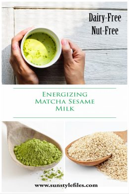 energizing matcha sesame milk recipe pinterest cover
