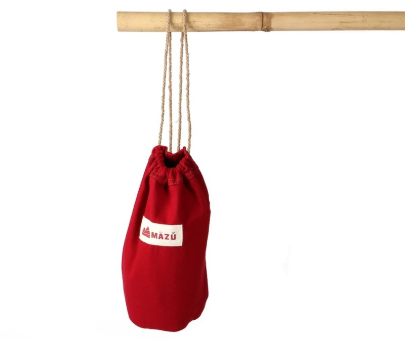 cute red sailor's dity bag hung on bamboo
