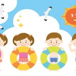 小学校・幼稚園で使えるプール開き・海開き  かわいい無料イラスト集
