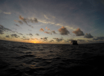 Sun rise over the horizon from the water, dive boat in the background and clouds in the sky