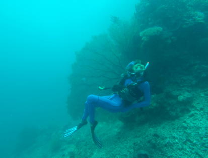 Tegan laying in front of a huge piece of coral in the shape of the fan, 1 hand behind the head