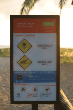 Sign at the entry to the beach, dangerous jellyfish, crocodiles