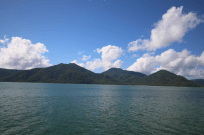 Green Island in the background, blue skies, greenish water
