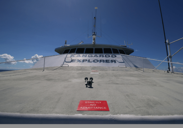 Kangaroo explorer sticker on the front of the boat