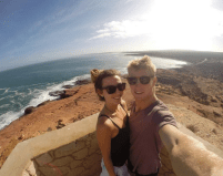 Selfie atop a look out at kalbarri, ocean in the background
