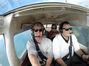 Selife inside the small aircraft while Dan flies us around
