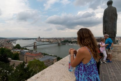 Tegan looking out from Buda castle towards the elisabeth bridge