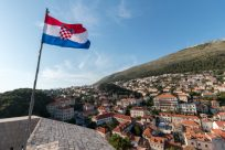 Flag of croatia blowing in the breeze