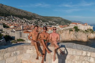Boys naked on the wall