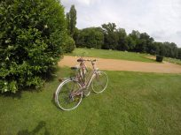 Our bicycles side by side in the park