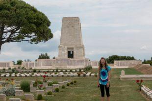 Tegan standing in the midst of the tombstones
