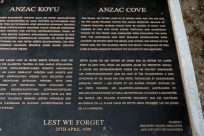 Anzac Cove memorial plaque