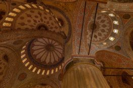 Swirls, circles, diamond shaped tiles on the roof of the Blue Mosque