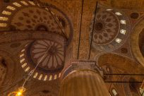 Intricate patterns on the roof of the blue mosque inside
