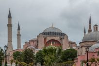 The Hagia Sophia, grey skies behind