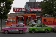 Trabi cars- pink and green parked up