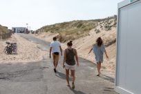 Walking to the beach with the crew