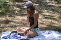 Tegan eating picnic treats