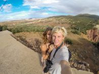 Couple selfie on the top of the hills