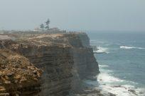 Peniche cliffs, ocean below and mist hugging the cliffs