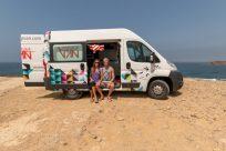 Us sitting in the campervan