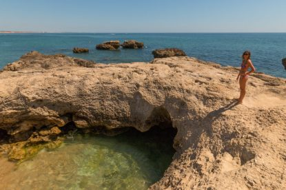 Rock pools in Albufeira, clear seas, blue skies