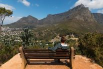 Tegs sitting on a park bench looking out towards Table Mountain