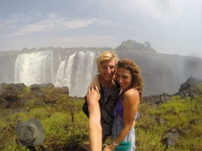 Selfie on the edge of the Vic Falls getting sprayed with the mist