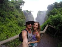 Selfie, devils cataract behind us, mist lifting up
