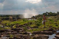 Tegs walking across the Zambezi