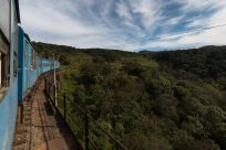Train passing through the hills