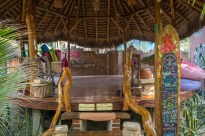Incredible yoga space in the surf camp! Circular wooden floor, thatched roof.