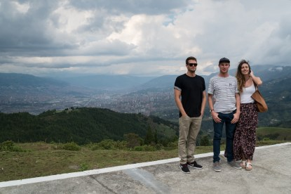 Jared, Daniel and Tegan standing on Pablos helipad in La Cathedral
