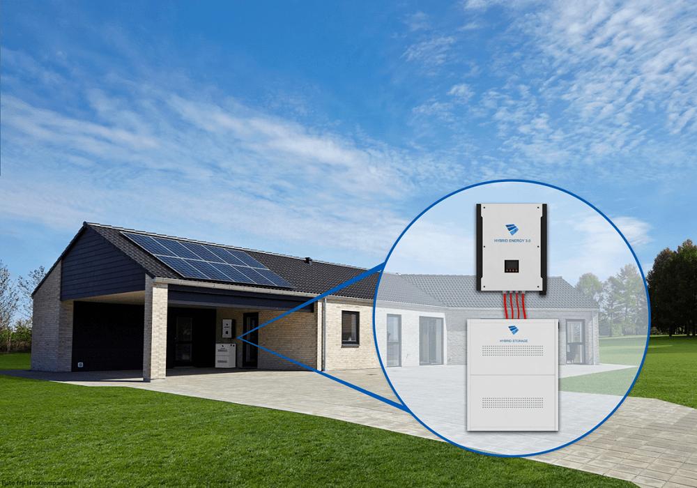 hybrid anlæg med batteri placeret på væg i carport/garage
