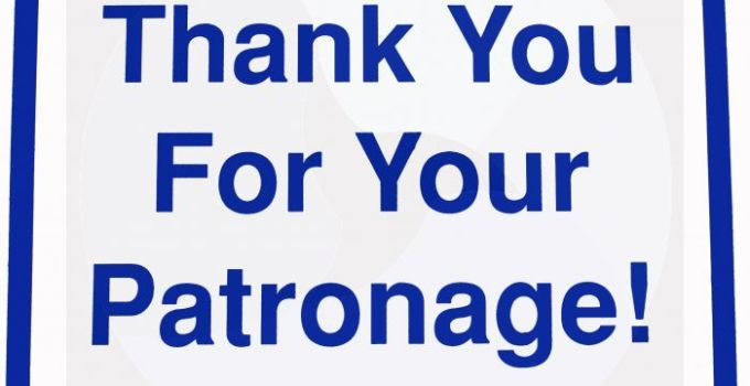 Thank You for Your Patronage Messages