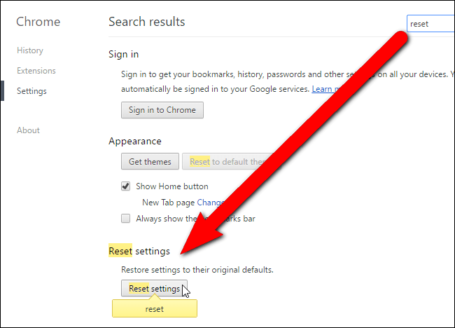 Reset your browser to default settings