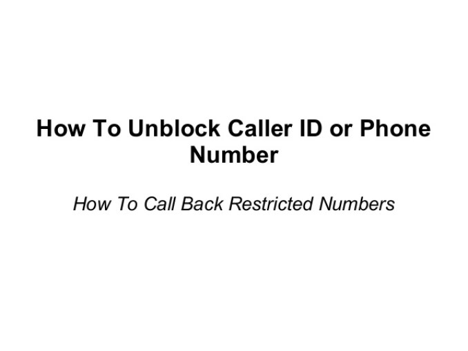 How to Call a Restricted Phone Number