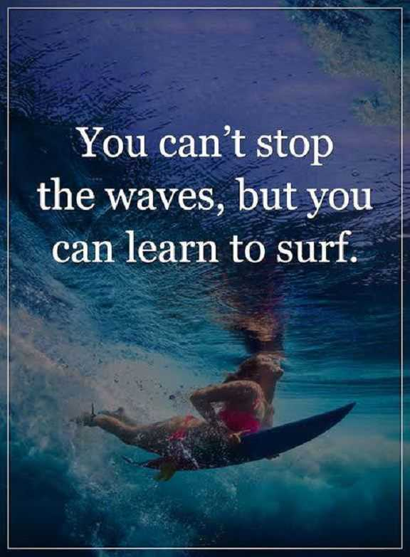 """You cannot stop the waves, but you can learn to surf."""