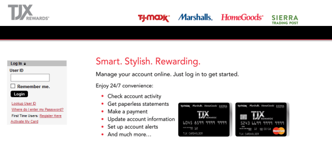 TJ Maxx Credit Card Log in for Payment