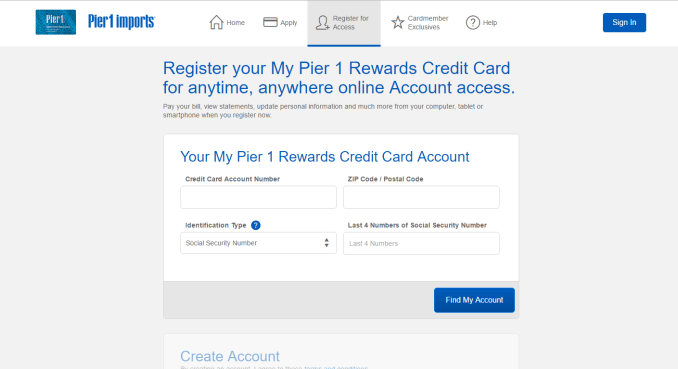How to Register Pier One Credit Card Login