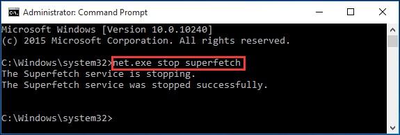 Disable SuperFetch Service